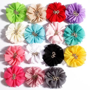 200pcs/lot 6.5CM 15Colors Chiffon Flower With Metal Bow Shaped Button For Kid Accessories Artificial Fabric Flower For Headbands