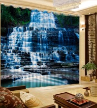 Home curtains beautiful living room curtains Natural landscape waterfall blue curtains for living room