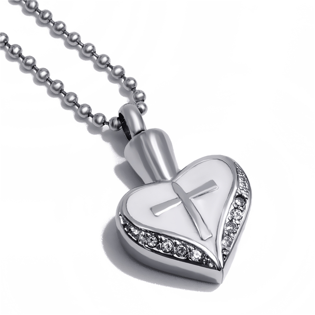 Cross in Heart Memorial Necklace