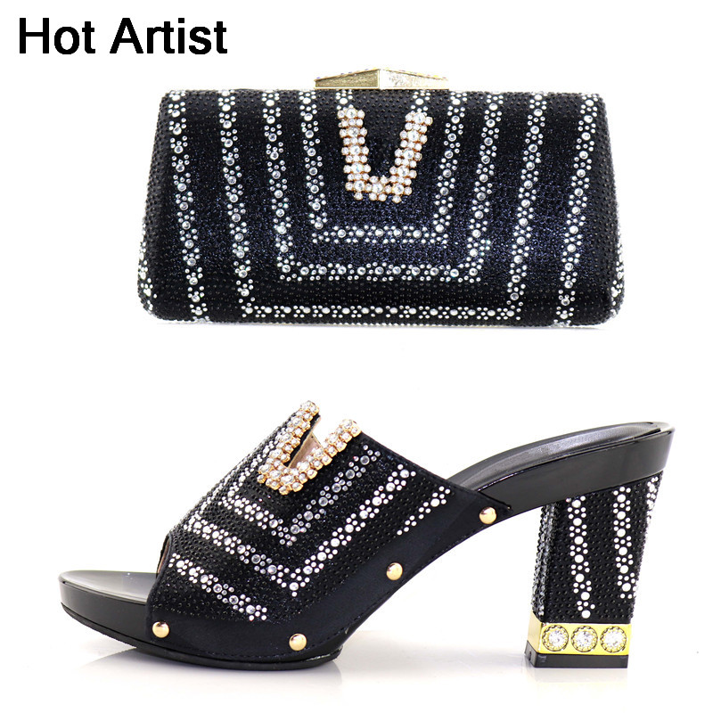 Hot Artist 2018 Italian Design Woman Shoes With Matching Bag Summer African Slipper Black Shoes And Bag Set For Parties YK-227 cd158 1 free shipping hot sale fashion design shoes and matching bag with glitter item in black