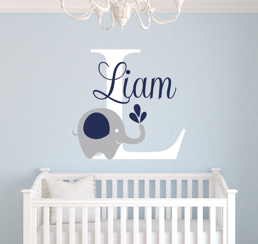 Naam Muursticker Babykamer.Custom Naam Olifant Muurstickers Voor Kinderkamer Gepersonaliseerde