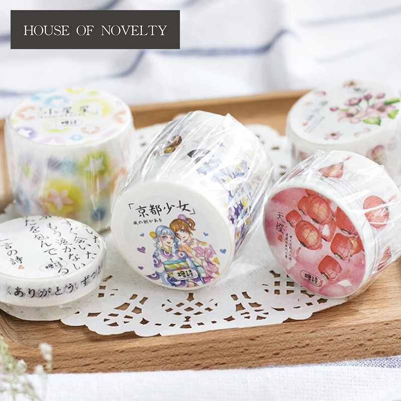 Japanese Kyoto Girl Washi Tape Adhesive Tape DIY Scrapbooking Sticker Label Masking Craft Tape 1roll 35mmx7m high quality rabbit home pattern japanese washi decorative adhesive tape diy masking paper tape label sticker gift page 4