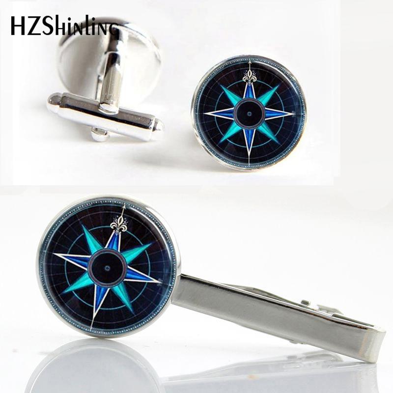 Hzshinling Cufflink-Set Steampunk Gift Silver Glass Round Brass Cabochon Clip CT--0010