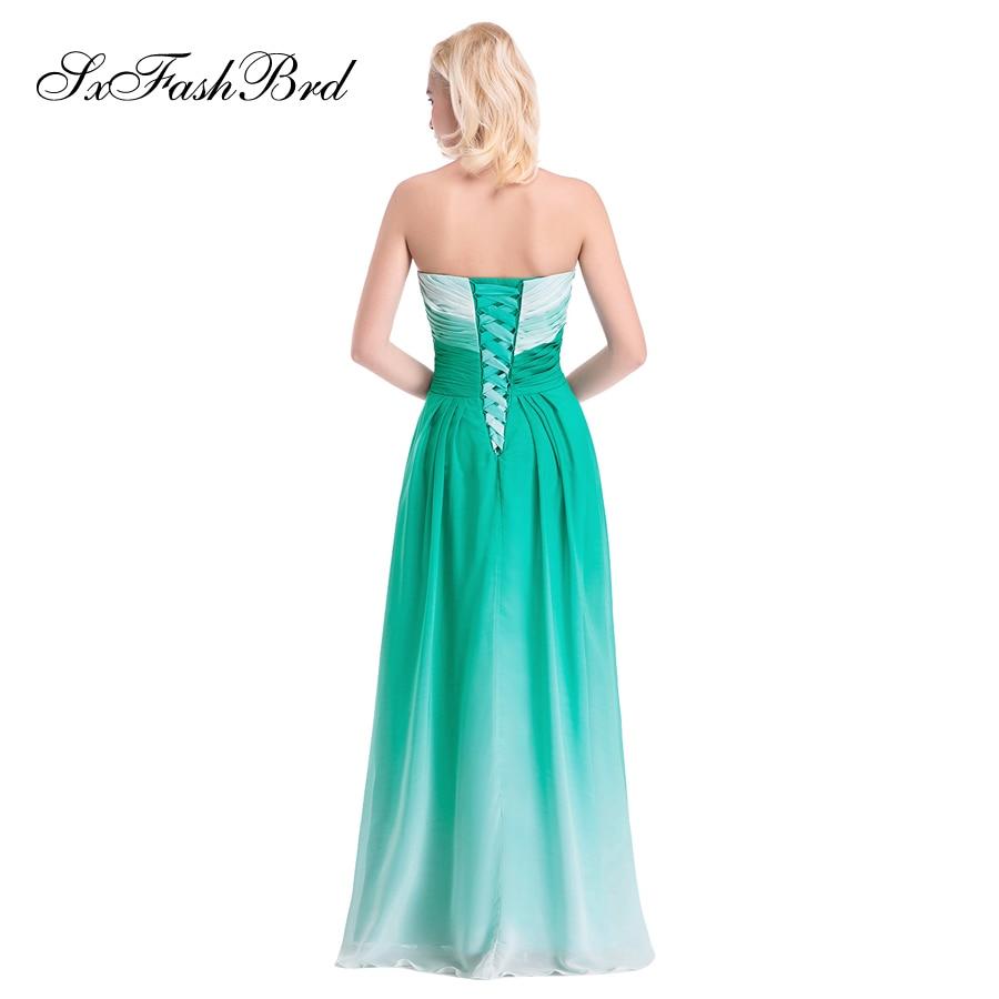 Vestido De Festa Sweetheart En Linje Sommer Flerfarvet Chiffon Lang - Særlige occasion kjoler - Foto 5