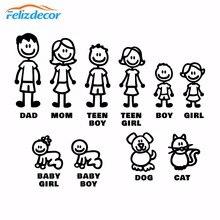 Autocollant de famille, figurines autocollantes, en vinyle découpées, pour pare choc de voiture, décoration de fenêtre de voiture, amusement familial, chiens, chats, bébés et enfants, L826
