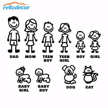 DIY 자기 접착제 그림 가족 데칼 죽을 잘라 비닐 스티커 Fam 범퍼 자동차 창 슬랩 가족 재미 개 고양이 아기 어린이 L826