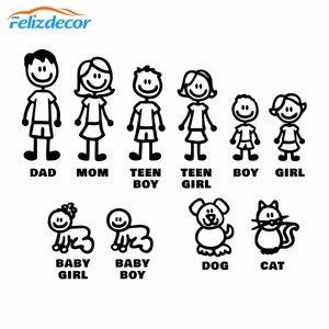 Image 1 - DIY self adhesive Figur Familie Decals Gestanzte Vinyl Aufkleber Fam Autoscooter Fenster Slaps Familie Spaß Hund Katze baby Kinder L826