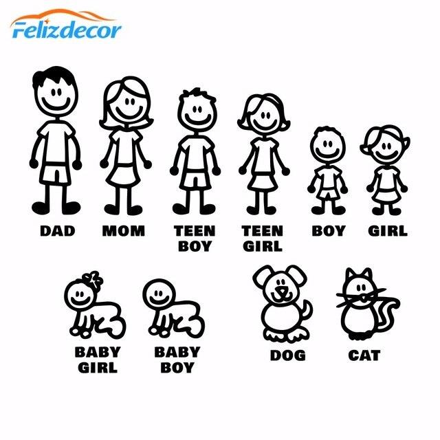 DIY self adhesive Figur Familie Decals Gestanzte Vinyl Aufkleber Fam Autoscooter Fenster Slaps Familie Spaß Hund Katze baby Kinder L826