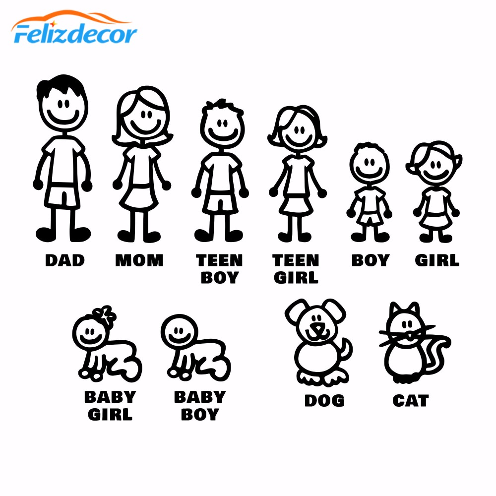 DIY self adhesive Figure Family Decals Die Cut Vinyl Sticker Fam Bumper Car Window Slaps Family Fun Dog Cat Baby Children L826-in Car Stickers from Automobiles & Motorcycles
