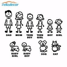 Figuras autoadhesivas para la familia, pegatina de vinilo cortada, parachoques, ventana del coche, diversión familiar, perro, gato, bebé, L826