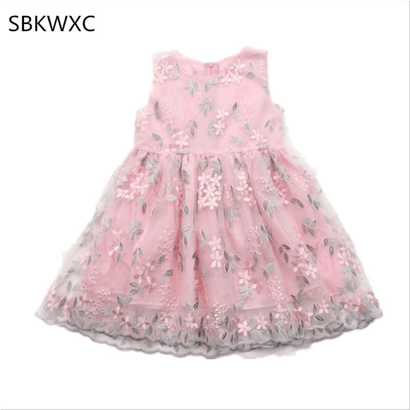 Wholesale 6pcs lot Baby Girls Princess Dress Flowers Grass Embroidery Toddler Wedding Party Formal Lace Ball