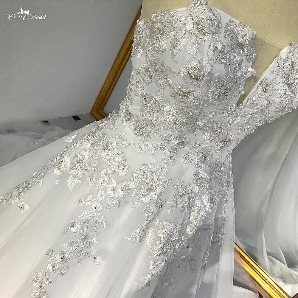 RSW540 Tulle del Pannello Esterno di A-Line Senza Spalline D'argento In Rilievo Del Merletto Bianco Abito Da Sposa