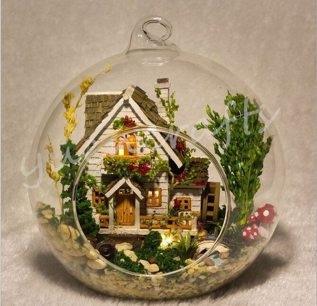 Forest Home Fairy Garden Terrarium With Led Lamp Creative Glass