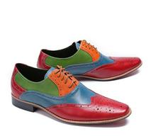 Genuine Leather Pointed toes male shoes dress men smart casual mix colour carved lace-up flats height increasing Brogue shoes недорого