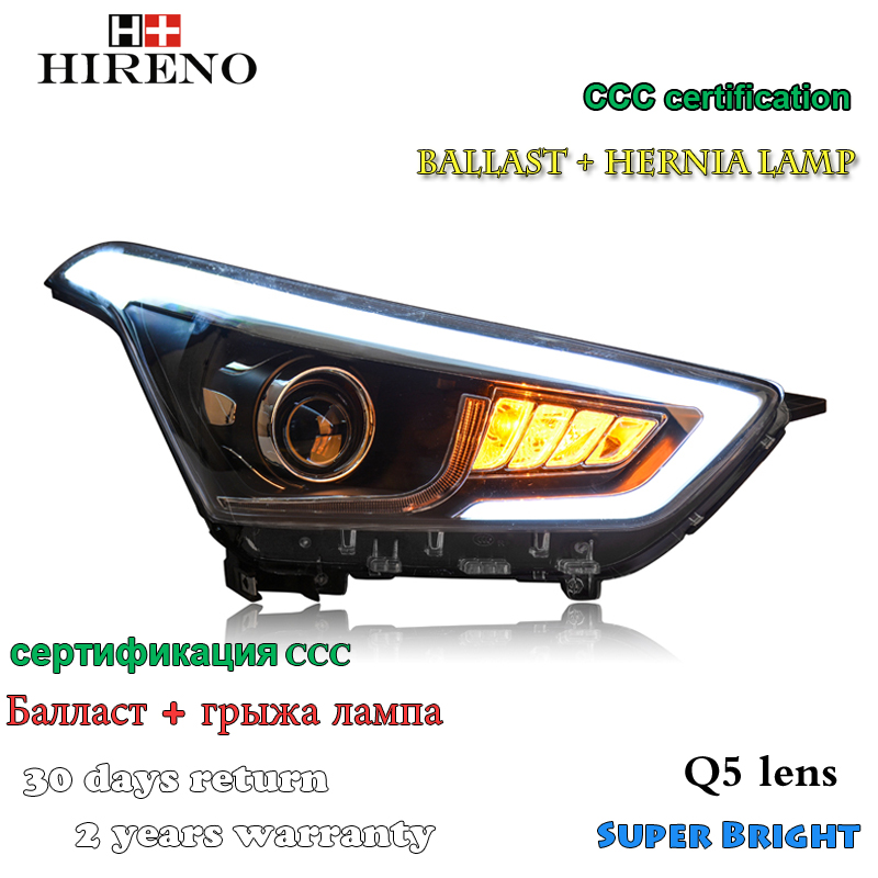 Hireno Headlamp for 2015-2017 Hyundai IX25 Headlight Assembly LED DRL Angel Lens Double Beam HID Xenon 2pcs 2pcs purple blue red green led demon eyes for bixenon projector lens hella5 q5 2 5inch and 3 0inch headlight angel devil demon