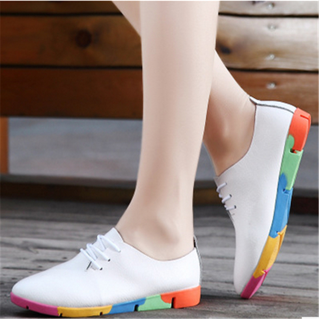 The new age season 2016 han edition leather white shoe brand flat single shoes non-skid women casual shoes size 35 -41 yards