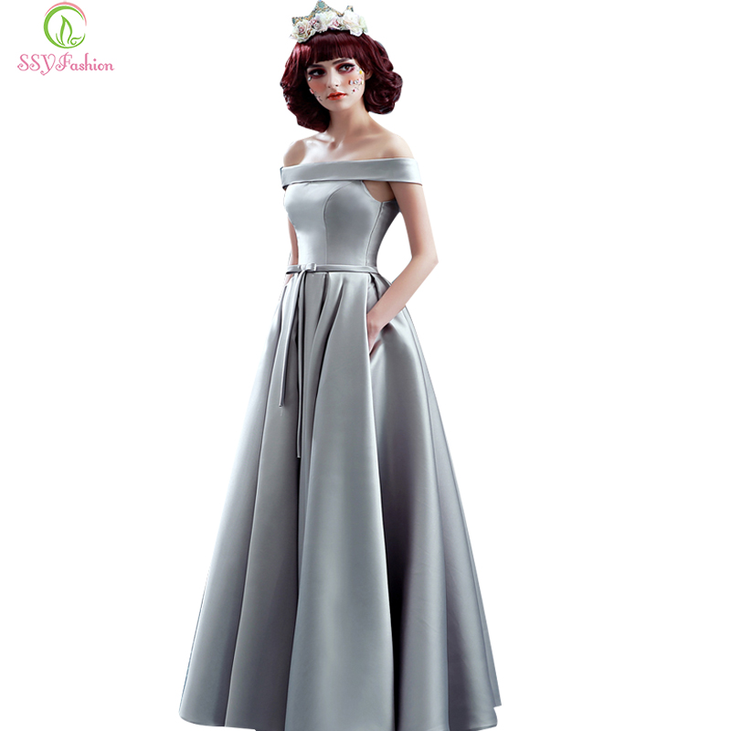 robe de soiree ssyfashion elegant simple grey boat neck With robe de soirée simple