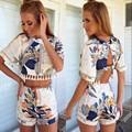 Backless chiffon floral romper playsuits jumpsuit das mulheres verão 2016 vestidos feminino macacão roupas de verão bonito feminino