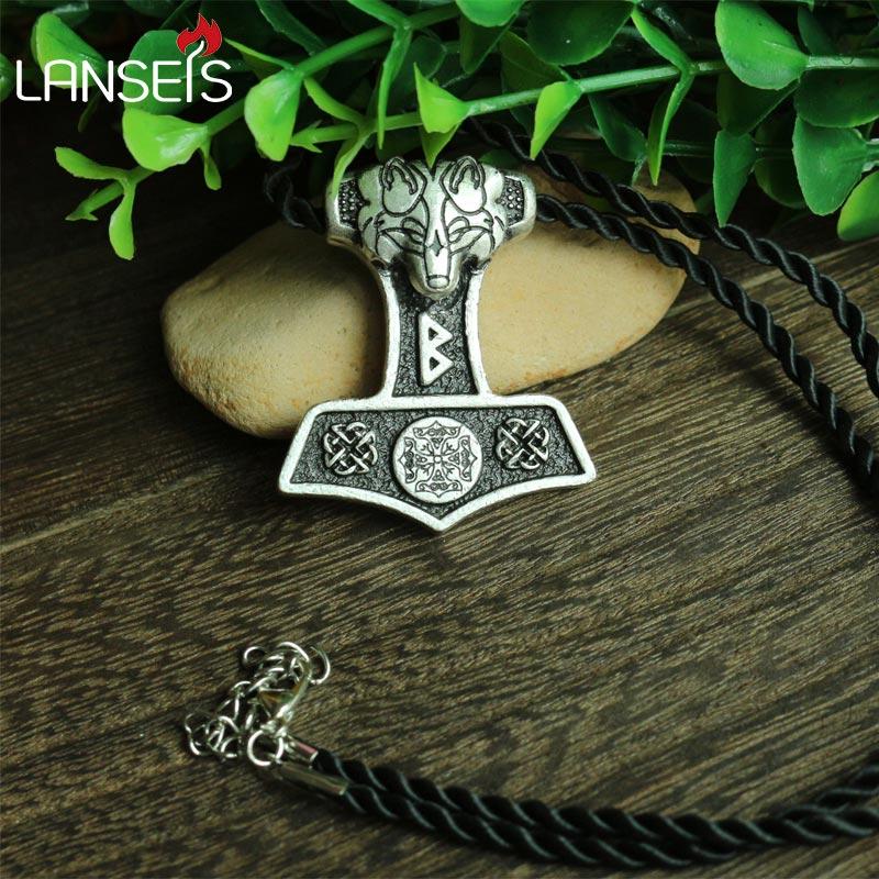 lanseis10pc wholesale norse odin s wolf Thor Hammer pendant viking Norway valknut symbol necklace men pendant