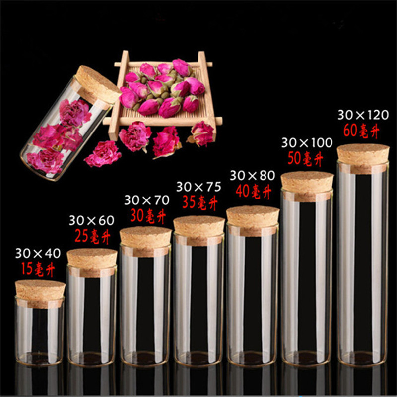 Diameter 30mm Glass Vials Jars  With Cork Empty Glass Transparent Bottles Containers Jewelry Packaging 24pcs Free Shipping