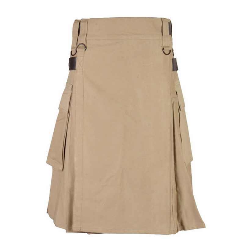 Laamei шотландская Мужская однотонная Классическая Ретро традиционная клетчатая средневековая карго индивидуальная шотландская Kilts клетчатая юбка с узором