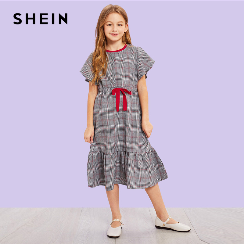 SHEIN Kiddie Plaid Ruffle Zipper Drawstring Waist Casual Girls Dress 2019 Summer Cap Sleeve Shift Long Kids Dresses For Girls