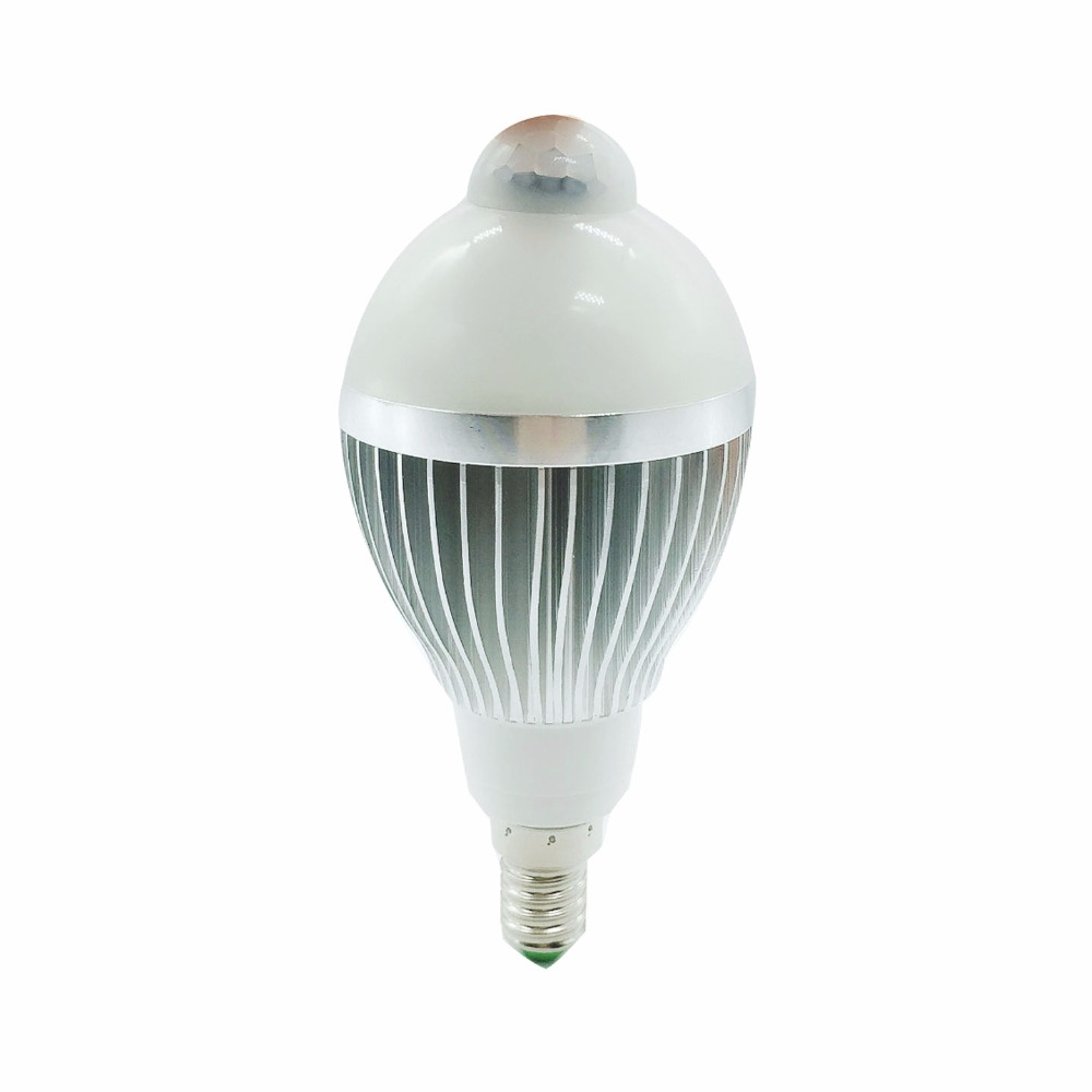 PIR Motion Sensor Cahaya E14 220 V DIPIMPIN Lampu 5 W 7 W 9 W Bulb Auto Cerdas PIR Inframerah Tubuh Lampu Dengan Sensor Gerak lampu