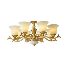 American style all copper Chandelier gold Luxury Home frosted glass Lighting Fixture Creative Vintage LED E27 bulb droplight