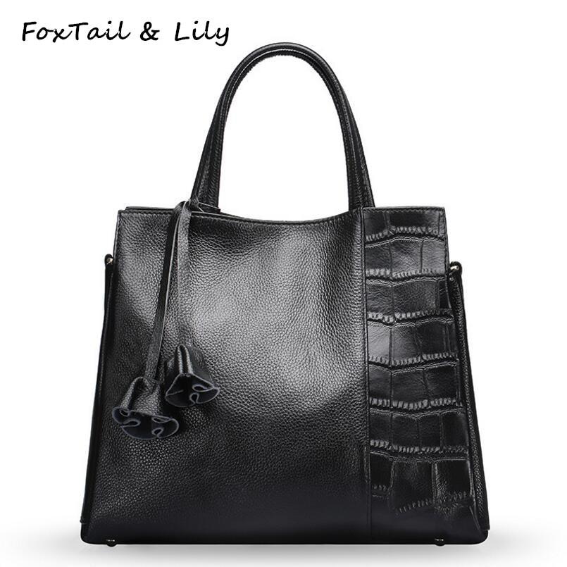 FoxTail & Lily Stone Pattern Patchwork Design Women Handbags Genuine Leather Tote Shoulder Bag Flowers Pendant Crossbody Bags