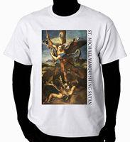 OKOUFEN Christian Art T Shirt St Michael And Satan Brand Clothihng Fashion T Shirt 100 Cotton