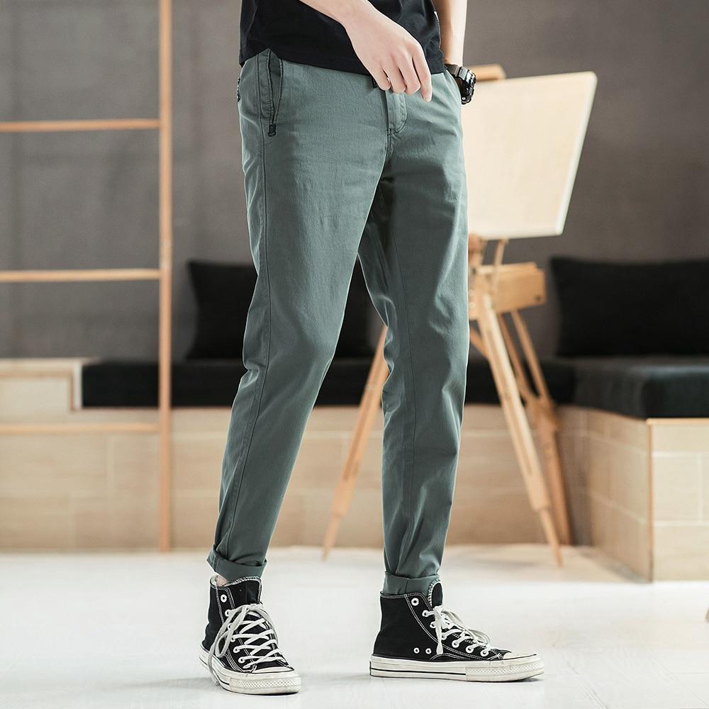 Bosibio Herren Casual Hosen Slim Fit Solide Schwarz Grau Baumwolle Hosen Frühling Herbst Elastische Taille Männlichen Hosen G3556 Novel (In) Design;