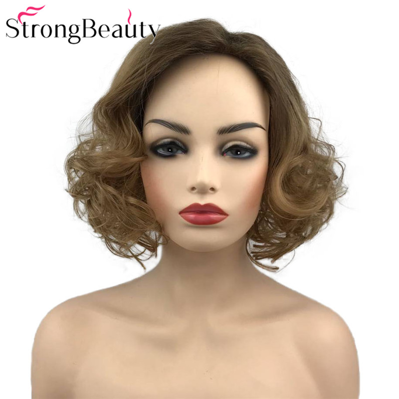 Strong Beauty Women's Wig Ombre Brown Medium Curly Hair Synthetic Wigs
