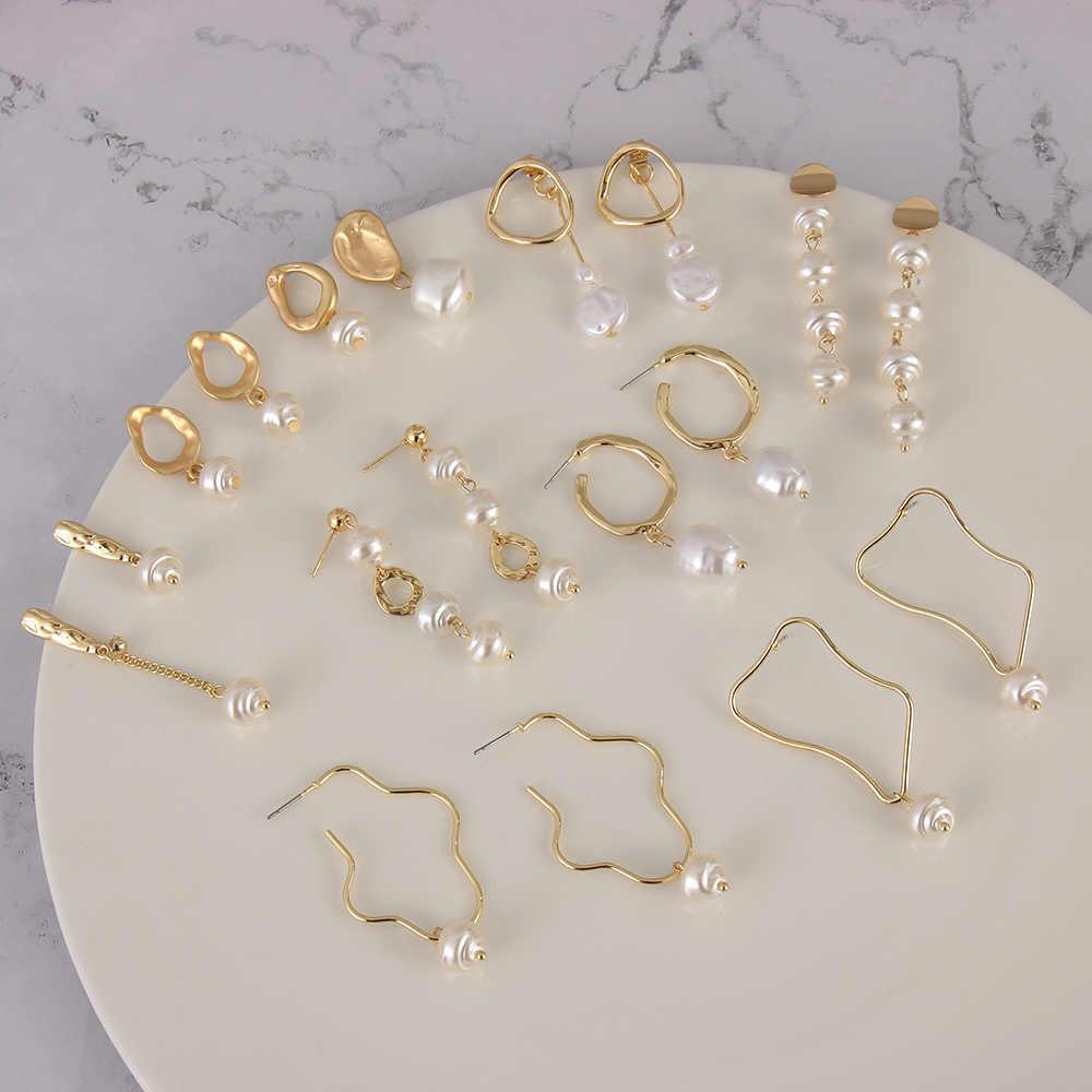 2019 de moda diseño de Corea de Metal oro geométrico Irregular círculo cuadrado de perlas naturales de agua dulce, pendientes para las mujeres regalo