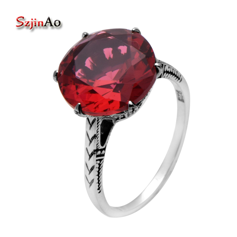Szjinao Round Cut Saucy Ruby Rose Red Stone Jewelry Vintage 925 Sterling Silver Rings For Women Regalo Size 8 7 5 6 9 10