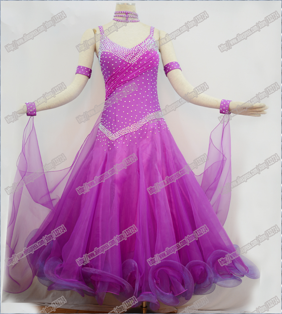 Ballroom Dance Dress,Modern Waltz Tango Ballroom Dance Dress, Smooth Ballroom Dress,PURPLE Tango Dress WomenB-0084