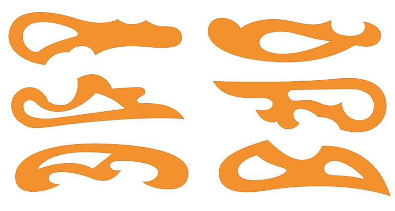 Set of 6 French Curves Curve <font><b>Drawing</b></font> Drafting Template Stencil - Fashion Garment Tailoring Sewing Dressmaking Design AA2684