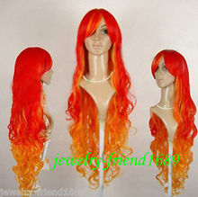 Wholesale heat resistant LY free shipping New Long waves red orange mixed cosplay Party Wig 100CM