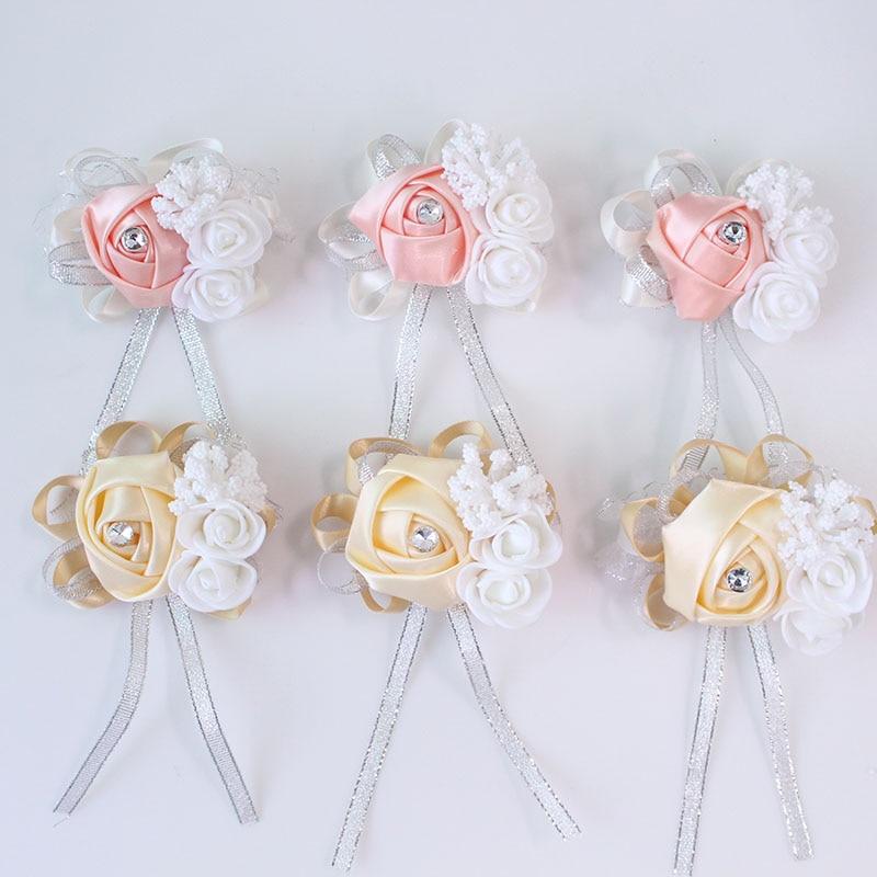wedding wrist corsage Bracelet bridesmaid rose silk white pink marriage wrist corsage  (189)