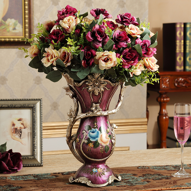 European Elegant Vintage Luxury Decorative Vase Creative Flower Vase