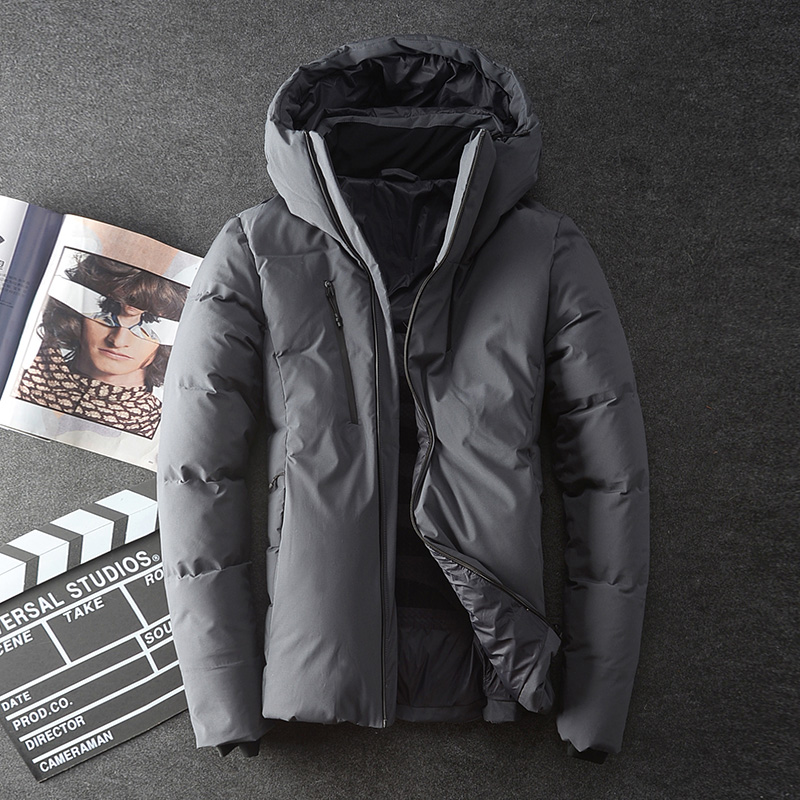 Male   down     coat   short design slim   down   jacket winter thickening seamless adhesive with a hood   down     coat   outerwear XL 2XL 3XL