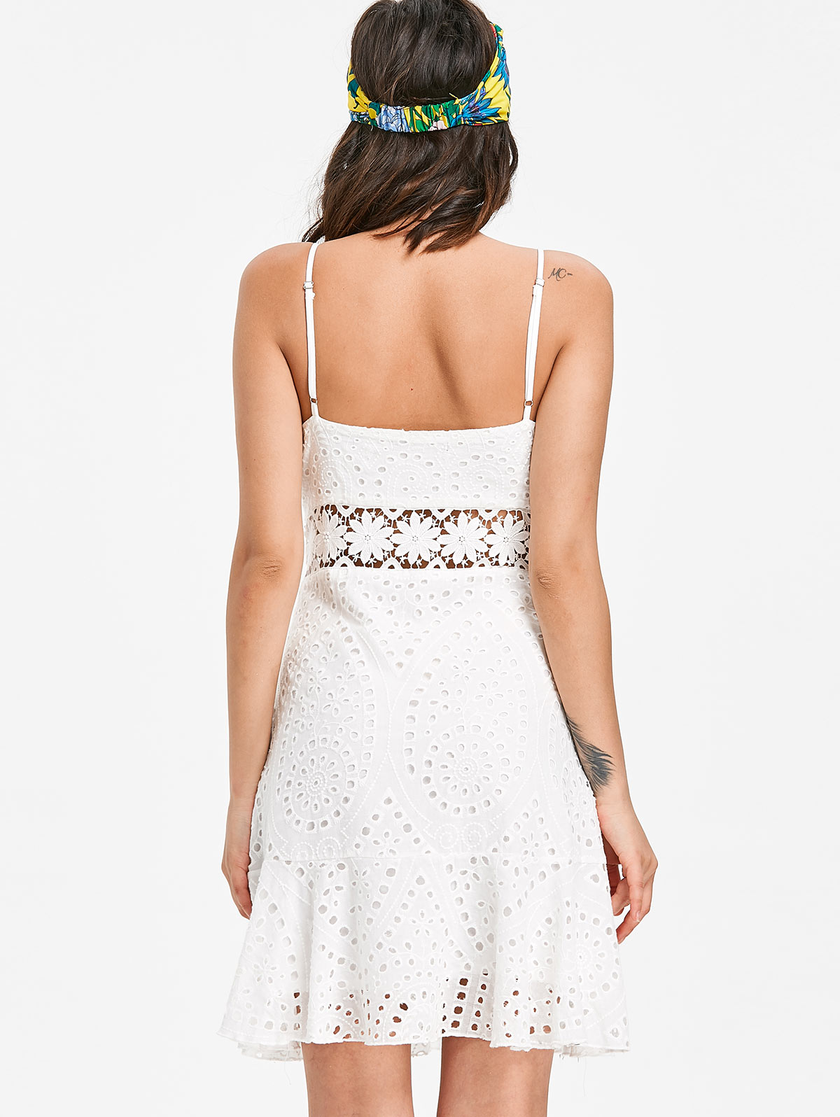 7ae01c7132d99 US $18.99 30% OFF|AZULINA Women Dress Broderie Anglaise Lace Slip Dress  Beach Summer Day Sumdress Robe Femme 2018 New Cute White Vestidos Mujer-in  ...