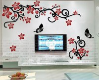Free shipping 3D Flower vine Acrylic wall stickers Living room bedroom Romantic Wall Stickers Home DIY art Decoration Hot sale