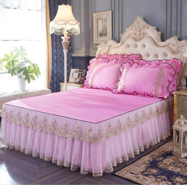 1/3Pcs ruffles princess bedding 100% cotton lace bed skirt bed sheet handmade bedspreads twin king queen size rose/pink/purple