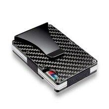 Clipe de fibra de carbono ultra-fino metal clipe carteira negócio pode acomodar vários cartões de débito e crédito carteira tamanho completo