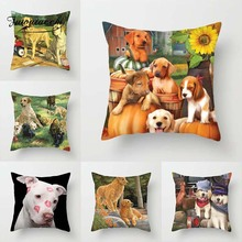 Fuwatacchi Dogs Animal Cushion Covers Throw Cute Family Pet Dog Pillow For Home Sofa Decor Square Pillowcases 45cm*45cm