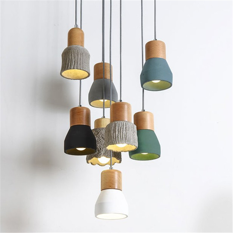 Vintage Loft Decor LED Pendant Light Cement Wood Lamp Home HangLamp Industrieel Dining Room Lights Antique Lampara Colgante