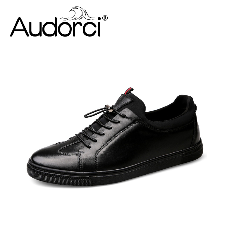 Audorci Fashion Big Size Genuine Leather Shoes First Grade Cow Leather Men Flats Shoes Spring Autumn Winter Casual Flat Man Shoe genuine leather men casual shoes plus size comfortable flats shoes fashion walking men shoes
