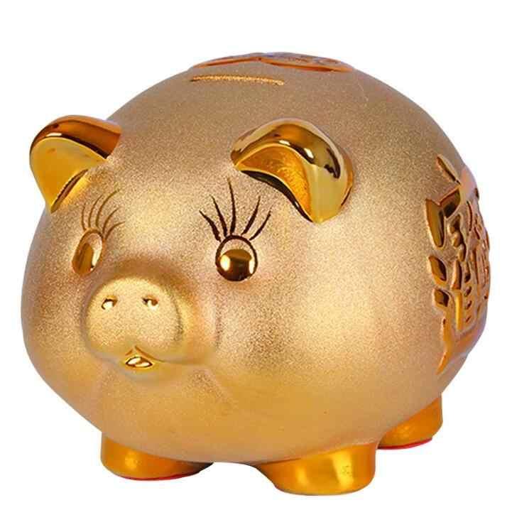 セラミック豚貯金箱家の装飾黄金豚の置物貯金箱飾り豚形状コインの保存箱キッズ誕生日ギフト 04269