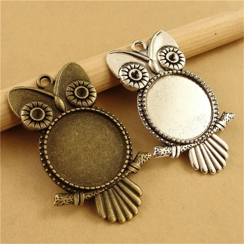 5pcs Antique Bronze Owl Pendant Settings 25mm Round Blank Base Settings Tray Bezel DIY Necklace Charms Findings Components
