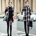 Hot sale Autumn Winter jacket women wool coat 2016 New fashion Three Quartar plaid Collar Hairball woolen coats female XXL